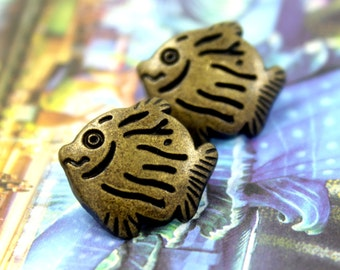 Metal Buttons - Fish Antique Brass Shank Buttons - 17mm - 0.67 inch - 3 pcs