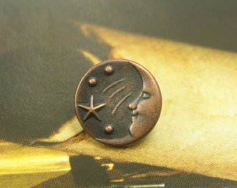 10 Moon and Star Metal Buttons , Copper Color , Shank , 0.43 inch
