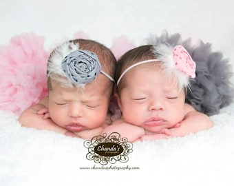 READY TO SHIP, Set of 2, Light Pink and Gray, Glitter Dot Flower Headbands, Twin Headbands, Newborn Prop, Photography Prop Headband, Sitter