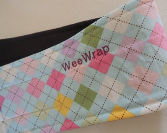 Dog Diaper, Belly Band, Stop Marking with WeeWrap, Pastel Argyle, Personalized,Eco-Friendly