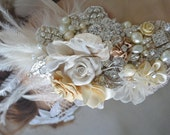 Floral Bridal Hair fascinator clip, Champagne and Ivory Flower and feathers, Rhinestones and pearls Feather hair clip, Lace bridal hair clip