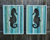 Set Of 2 Reversible Head Board Panels, Beachy Weathered Seahorse, Beach House Decor