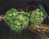Hops & Barley, Original Oil Painting