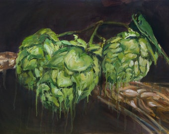 Hops & Barley, Original Oil Painting