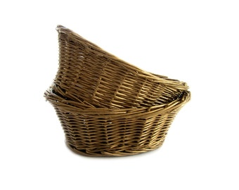 PAIR Gold Willow Wicker Bread Basket NOS w Original Label