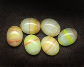 10x8mm 8x10mm Vintage Multicolored Opal Oval Glass Cabochons, White Yellow Orange Stripes, Cabochons Cabochon Cabs Cab, Quantity 6