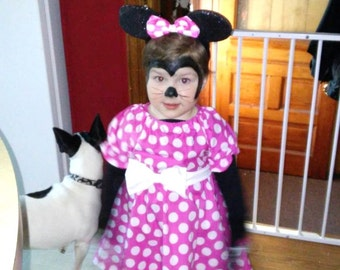 Minnie Mouse costume SIZE 2T ready to ship  pink  polka dot Twirling dress  Model is Lily , so cute