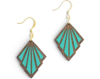 Oyster Large earrings Art Deco Teal