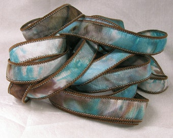 Hand Dyed Silk Ribbon - Hand Painted Jewelry Bracelet Wrap - Quintessence - Chocolate Turquoise Reflections