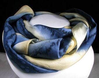 Silk Scarf, Hand Painted Silk Scarf - Navy Yellow Rain