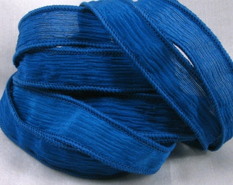 Hand Dyed Silk Ribbons - Crinkle Silk Jewelry Bracelet Fairy Ribbon - Quintessence - Reflex Blue