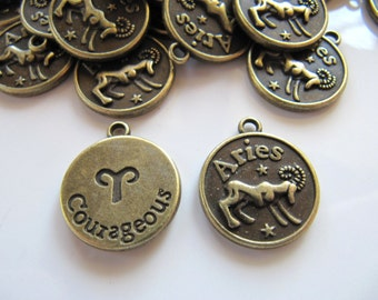 20mm Zodiac CHARMS, Aries, Astrology Pendant in Bronze Tone, Double Sided Design, 20mm x 17mm, 5 Piece