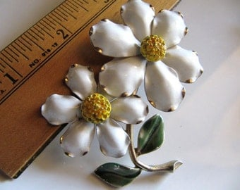 Vintage Enamel Brooch and Earrings Set, White and Yellow Daisies on Gold Tone Metal with Green Stem
