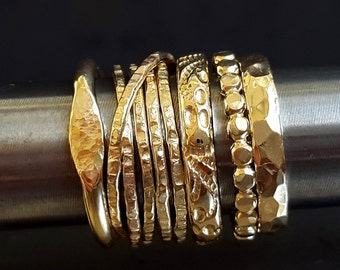 Gold Rings, Stack of Five Rings, Ring Combo, Stackable Rings, Gold Rings, Multi Ring Look, Wedding Rings, Anniversary Rings, Venexia Jewelry