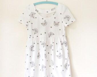 Handmade kitty dress - white - short sleeve baby doll with pockets