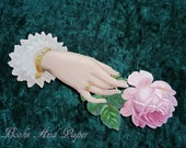 Victorian Large Die Cut Scrap of Hand holding Pink Rose