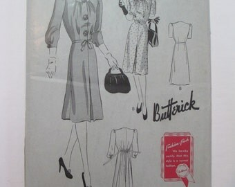 "Antique 1940's Butterick Dress Pattern #1364 - size 36"" Bust"