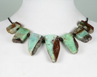 Chrysoprase slab minty green rough stones raw organic statement necklace leather