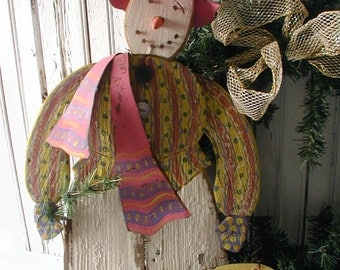 Handmade Snowgirl Reclaimed Vintage Materials Funky Ornamental Indoor Or Outdoor Holiday Decoration Fanciful Christmas