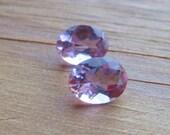 2 Vintage Oval Cut Natural Amythest Stones Multifaceted Cut  Light Amythest Color