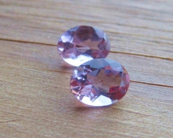 2 Vintage Oval Cut Natural Amythest Stones Multifaceted Cut  Light Amythest Color