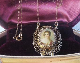 Antique Connector Portrait Pendant  Filigreed Antique Chain