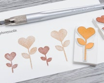 heart flower stamp, heart stamp, blooming flower stamp, valentine's card, diy card pattern, border stamp, gift tag rubber stamp, hand carved
