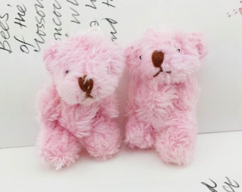 NEW: 1pair Extra Fluffy Pink Teddy Bear Miniature Toy (4cm)
