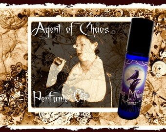 AGENT OF CHAOS Perfume Oil - Chypre Accord, Leather,  Cardamon, Clove, Citrus, Mahogany - Steampunk Perfume