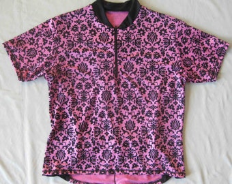 Bicycle Jersey in Pink and Black Floral Print for Women Short Sleeve - SMALL