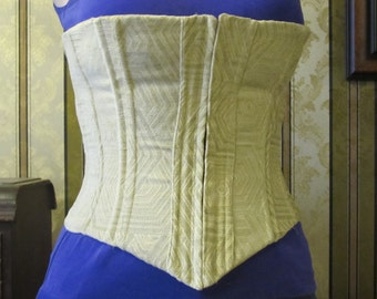 Corset with grommets - custom made - tan with geometric / hexagon pattern - upholstry grade fabric