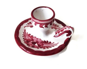 Ceramic Candle Holder from Portugal -  Hand Painted Red and White- Single Taper Candle