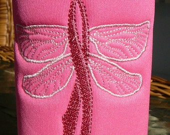 Breast Cancer Awareness Bottle Cozy - Dragonfly