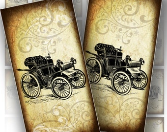 1x2 domino collage sheets. Digital collage sheet, vintage auto, Victorian car paper supplies, jewelry making,  (142) BUY 3 GET 1 FREE