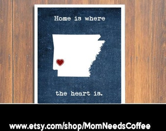 Arkansas print, Home is where the heart is, Arkansas heart print, Arkansas wall art, wall decor, Arkansas decor, home decor, Arkansas decor