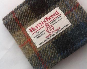 Mens Harris tweed wallet bill fold made in Scotland gift  wool vegetarian plaid Scottish British UK