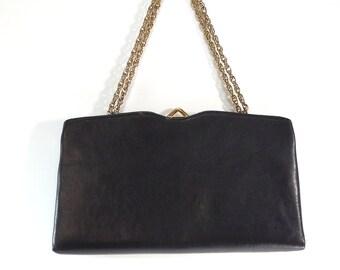 Mardane Black Leather Convertible Clutch