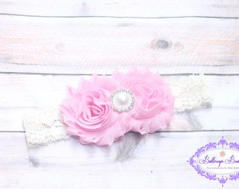 Pink baby headband, ivory pink headband, newborn headband, infant headband, shabby flower headband, toddler headband, lace headband