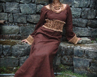 Priestess Long Dress with Long sleeves  Native American style Original design embroidery  made of Brown Irish linen embroidery folk natural