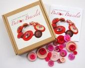 Child's EASY Handmade DIY Pink Button Bracelet Kit Stocking Filler