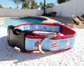 """Dog Collar 3/4"""" or 1"""" width Quick Release buckle adjustable Blue Sails  - see 1.5"""" width listing link within"""