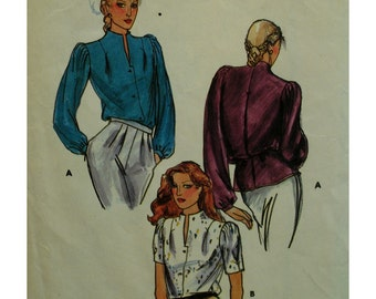 1980s Back Pleat Blouse, High Neck, Front Slit, Front Buttons, Long/Short Sleeves, Butterick No. 3295 Size 12 (cut) OR UNCUT Size 16