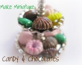 DIY Scale 1:12 Mini Candy Mold Resin Polymer Clay Miniatures Sweets Mold Dollhouse Candy Mold