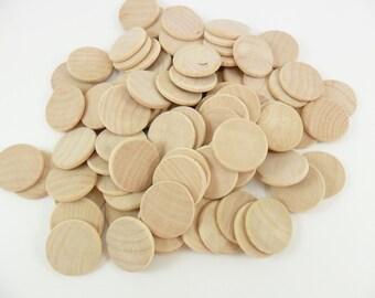 """50 Wood Circle Disc 1 1/4"""" Beveled Rounded Edge Unfinished Pendant"""