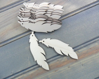 """Wood Feather Earring Blanks Laser Cut Wood Jewelry Shapes 3"""" x 7/8"""" x 1/8"""" (7cm x 2cm x 0.3cm) - 12 Pieces"""