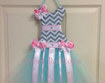 Tutu Dress Hair Bow Holder Gray Chevron with Aqua White and Pink