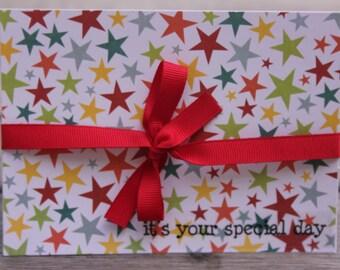 Birthday card, Baby 1st Birthday, Unisex 1st Birthday Card, Special Day, Colorful Stars Birthday Card