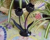 Vintage Primitive Metal Black Tulip Candle Holder Candelabra