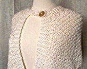 Hand Knit Shorty Cape Winter White Wool Shawl Wrap Victorian