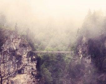 Breathtaking Art Metallic photo Large Print photography bridge mountain photograph forest green trees foggy for modern nursery decor brown